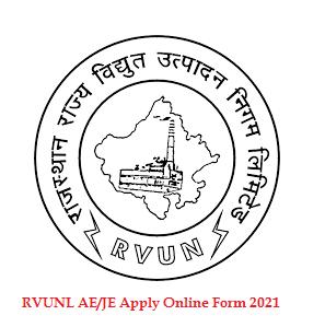 Rajasthan RVUNL AE JE Post Online Form 2021