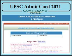 UPSC Geo Scientist Mains Admit Card 2021