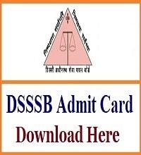 DSSSB Various Post Advt No. 01/2020 Admit Card