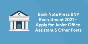 Bank Note Press BNP Post Online Form 2021