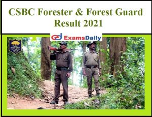 CSBC Bihar Police Forest Guard Result 2021