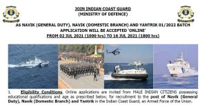 Coast Guard Yantrik Navik 01 2022 Online Form
