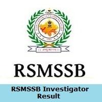 RSMSSB Investigator 2019 Result